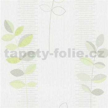 Vliesové tapety na stenu Happiness listy zelené na bielom podklade