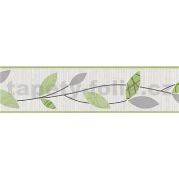 Vinylová bordúra Happy Time - lístky zelené 5 m x 13,5 cm