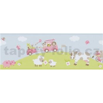 Bordúra papierová Happy Kids 2 - zvieracia farma ružová 5 m x 17,7 cm