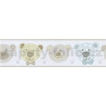 Bordúra papierová Happy Kids 2 - medveď modrý , zelený , hnedý 5 m x 13,6 cm