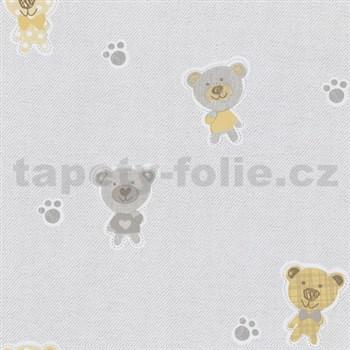 Papierové tapety na stenu Happy Kids 2 - medveď žltý , sivý