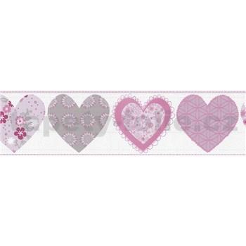 Bordúra papierová Happy Kids 2 - srdiečka ružové 5 m x 13,4 cm