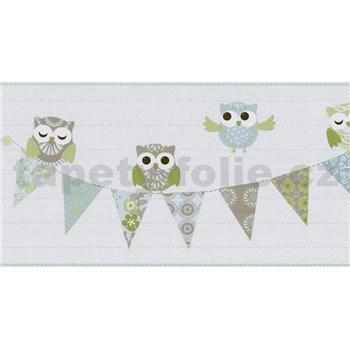 Bordúra papierová Happy Kids 2 - sovy modré 5 m x 26,5 cm