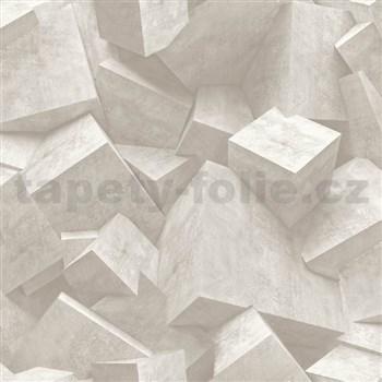 Vliesové tapety na stenu Hexagone 3D kocky svetlo hnedé