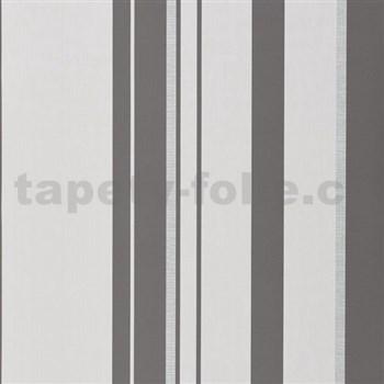 Papírové tapety na stenu pruhy sivo-biele