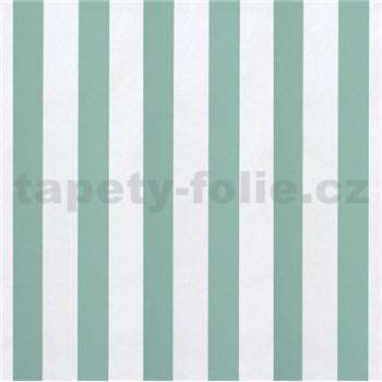 Papierové tapety na stenu pruhy zelené a biele lesklé