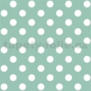 Papierové tapety na stenu zelená s bielymi lesklými bodkami