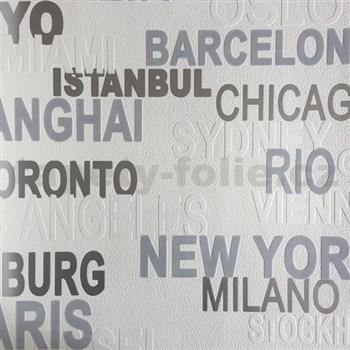 Vliesové tapety na stenu nápisy sivé, biele
