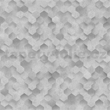 Vliesové tapety na stenu IDEA OF ART plásty svetlo sivé