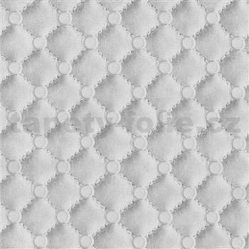 Vliesové tapety na stenu IDEA OF ART imitácia koženky s prešívaním a gombíkami sivé