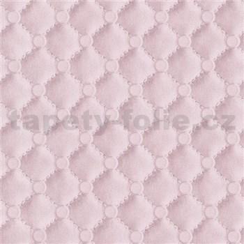 Vliesové tapety na stenu IDEA OF ART imitácia koženky s prešívaním a gombíkami ružové