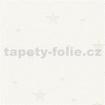 Vliesové tapety na stenu Il Decoro hvezdičky strieborné na bielom podklade