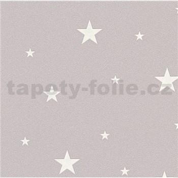 Vliesové tapety na stenu Il Decoro hvezdičky strieborné na tmavo ružovom podklade