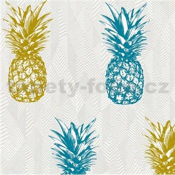 Vliesové tapety na stenu Il Decoro ananásy modré a žlté na bielom podklade