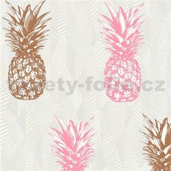 Vliesové tapety na stenu Il Decoro ananásy medené a ružové na bielom podklade