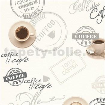 Vinylové tapety na stenu Il Decoro vzor káva na bielom podklade