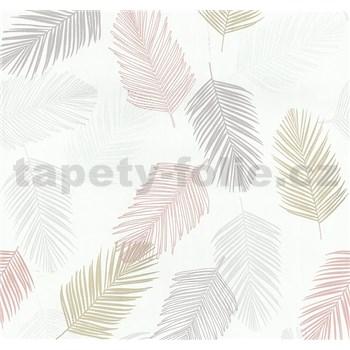 Vliesové tapety na stenu Infinity perie sivé, okrové, lososové, biele