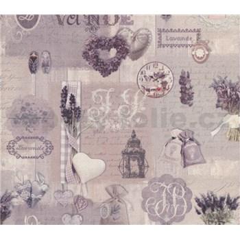 Papierové tapety na stenu Je T´aime provance sivo-fialový