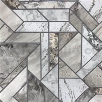 Vinylové tapety na stenu mramorované kachličky sivé  - SLEVA