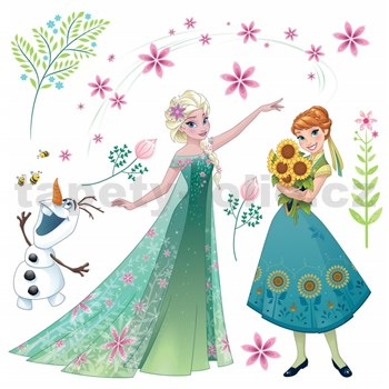 Samolepky na sklo Disney Frozen kvety rozmer 31 cm x 31 cm
