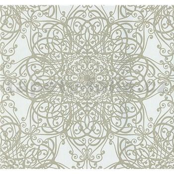 Vliesové tapety na stenu G. M. Kretschmer ornament zlatý na bielom podklade