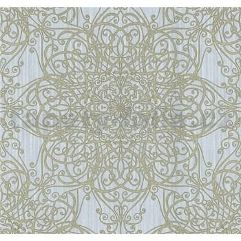 Vliesové tapety na stenu G. M. Kretschmer ornament zlatý na modrom podklade