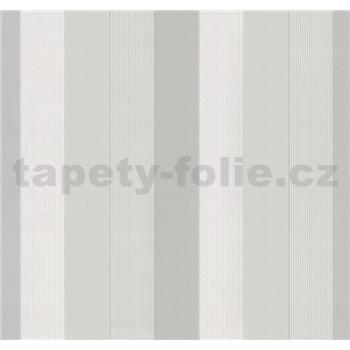 Vliesové tapety na stenu G. M. Kretschmer pruhy svetlo modré, biele, svetlo hnedé