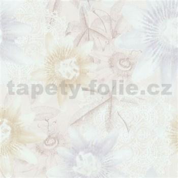 Vliesové tapety na stenu G. M. Kretschmer II kvety svetlo hnedé a modré