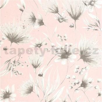 Vliesové tapety na stenu G. M. Kretschmer Sommeraktion kvety hnedé na ružovom podklade