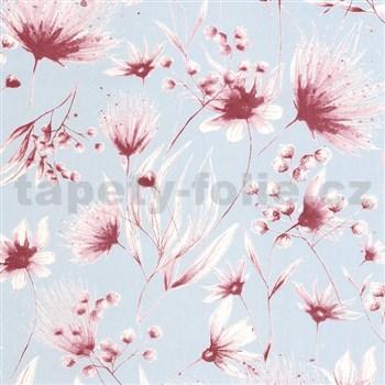 Vliesové tapety na stenu G. M. Kretschmer Sommeraktion kvety ružové na modrom podklade