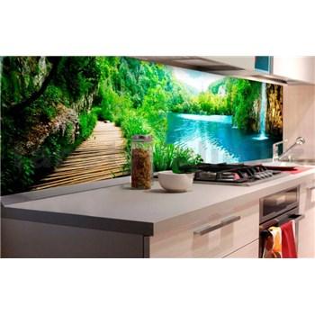 Samolepiace tapety za kuchynskú linku vodopády v lese rozmer 180 cm x 60 cm
