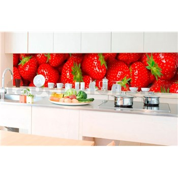 Samolepiace tapety za kuchynskú linku jahody rozmer 350 cm x 60 cm