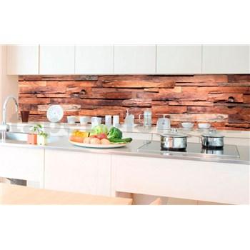 Samolepiace tapety za kuchynskú linku drevená stena rozmer 350 cm x 60 cm