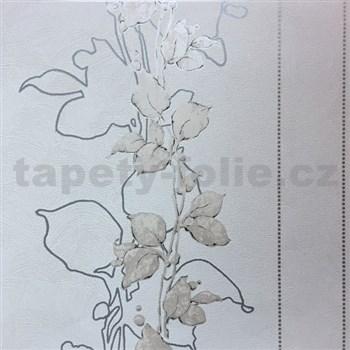 Tapety na stenu La Veneziana 3 stonky listov na sivom podklade