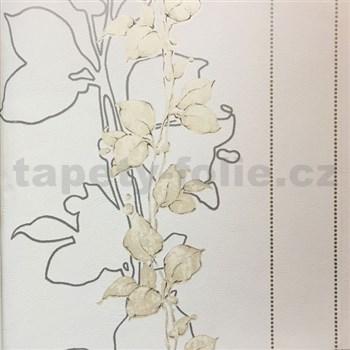 Tapety na stenu La Veneziana 3 stonky listov na svetle béžovom podklade