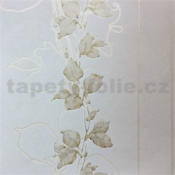 Tapety na stenu La Veneziana 3 stonky listov na svetlo hnedom podklade