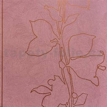 Tapety na stenu La Veneziana 3 listy bronzové na vínovom podklade