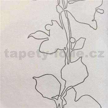 Tapety na stenu La Veneziana 3 listy strieborné na svetle béžovom podklade