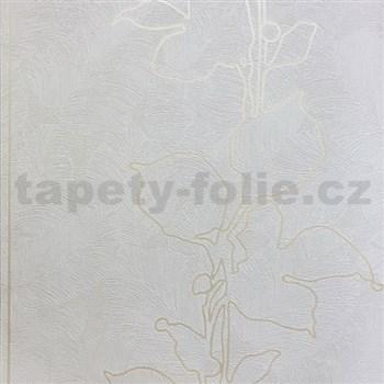 Tapety na stenu La Veneziana 3 listy krémové na svetlo hnedom podklade