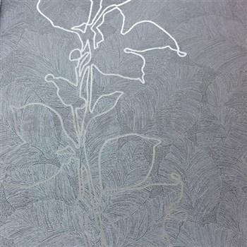 Tapety na stenu La Veneziana 3 listy strieborné na sivom podklade