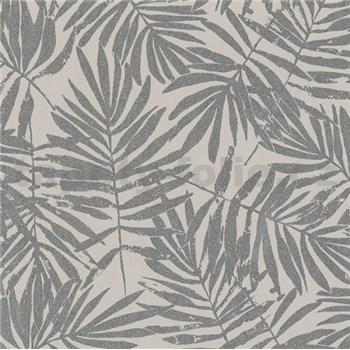 Vliesové tapety na stenu La Veneziana IV papradie strieborné na hnedom podklade