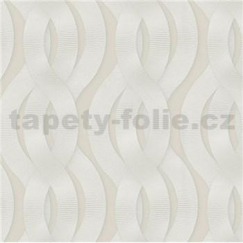 Luxusné vliesové tapety na stenu Colani Legend preplietané vlny biele na krémovom podklade
