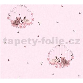 Detské vliesové tapety na stenu Little Stars zajačik a mačiatko na ružovom podklade
