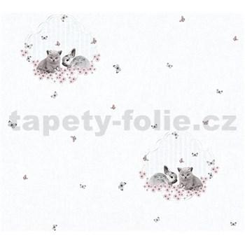 Detské vliesové tapety na stenu Little Stars zajačik a mačiatko na bielom podklade