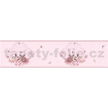Detské vliesové bordúry Little Stars zajačik a mačiatko na ružovom podklade