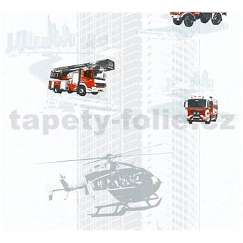 Detské vliesové tapety na stenu Little Stars hasiči a vrtulník na bielom podklade