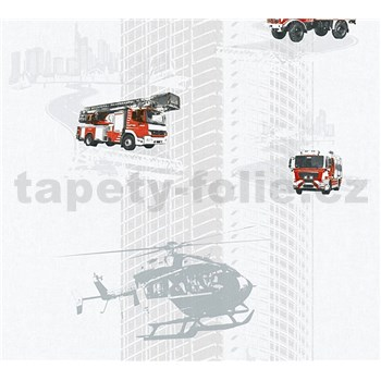 Detské vliesové tapety na stenu Little Stars hasiči a vrtulník na sivom podklade