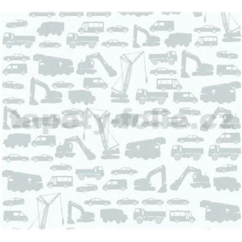 Detské vliesové tapety na stenu Little Stars auta sivé na sivom podklade