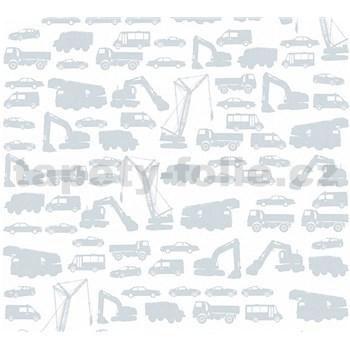 Detské vliesové tapety na stenu Little Stars auta sivé na bielom podklade
