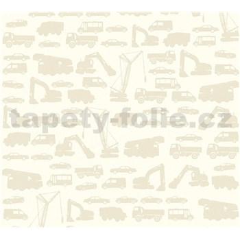 Detské vliesové tapety na stenu Little Stars auta hnedé na krémovom podklade